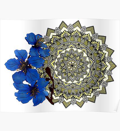 Royal blue magnolia mandala Poster