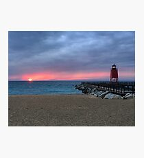 Spring Sunset - Lake Michigan beach Photographic Print