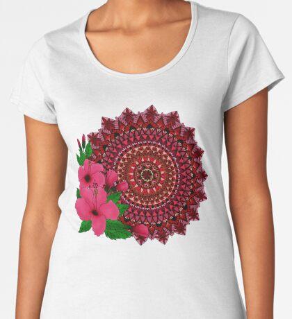 Red Hibiscus Mandala Premium Scoop T-Shirt