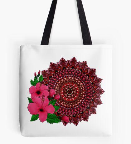 Red Hibiscus Mandala Tote Bag