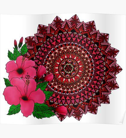 Red Hibiscus Mandala Poster