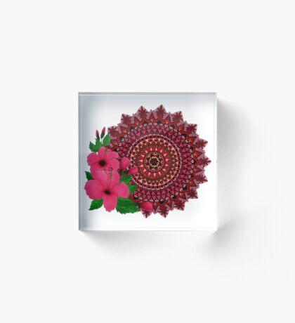 Red Hibiscus Mandala Acrylic Block