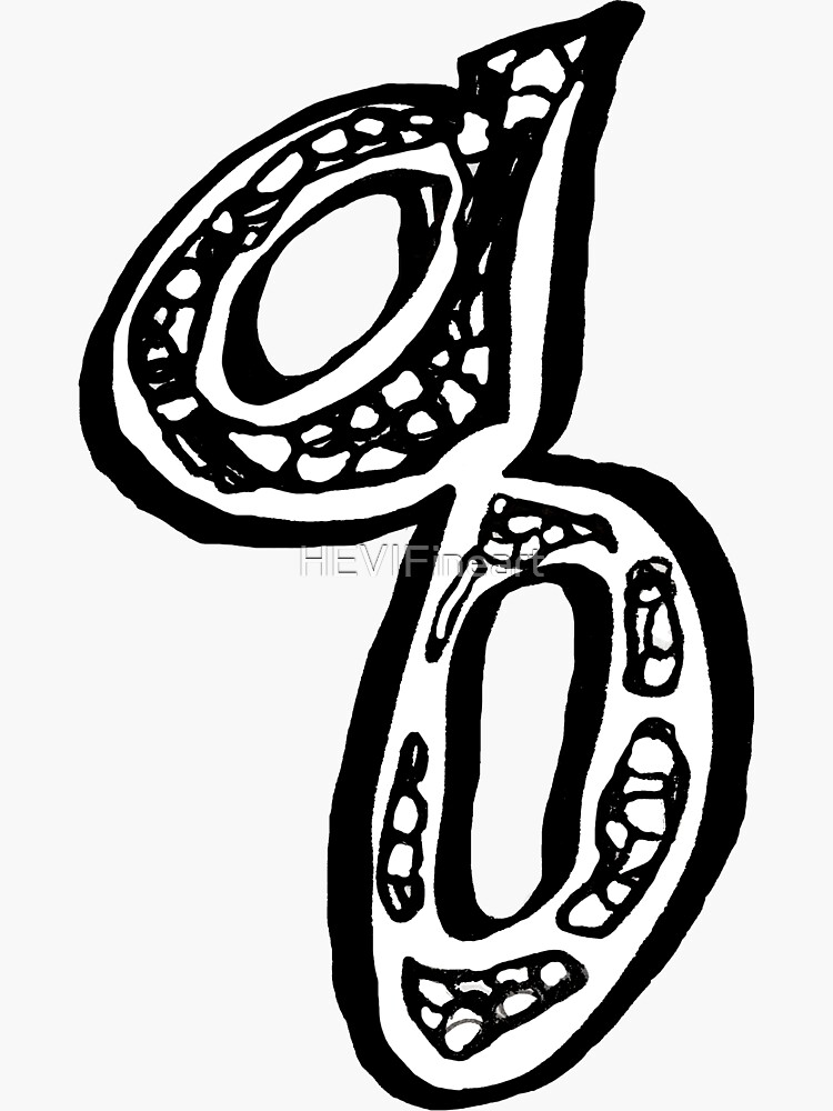 Lower case black and white alphabet letter Q  by HEVIFineart