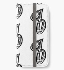 Lower case black and white alphabet letter Q  iPhone Wallet/Case/Skin