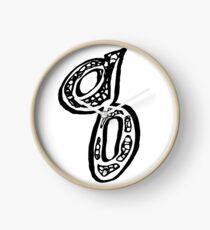 Lower case black and white alphabet letter Q  Clock