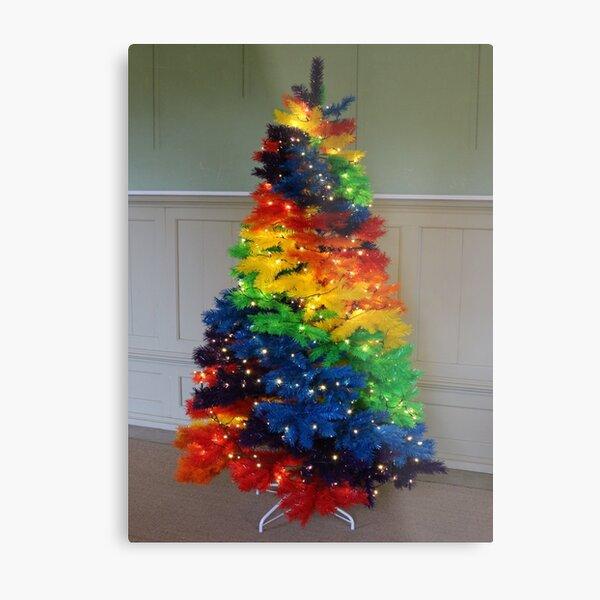 Rainbow Christmas Tree Metal Print