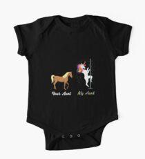 Deine Tante Meine Tante Niedliches Pferdeeinhorn Baby Body Kurzarm