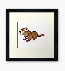 Groundhog Cartoon Character Framed Print