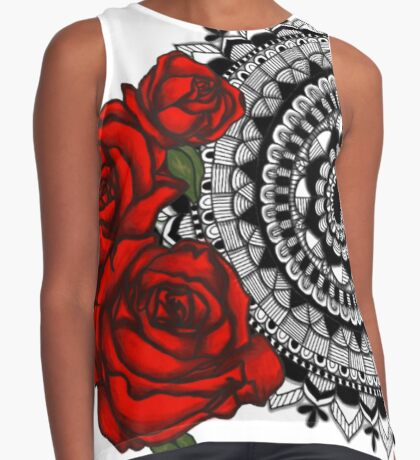 Red rose mandala Sleeveless Top