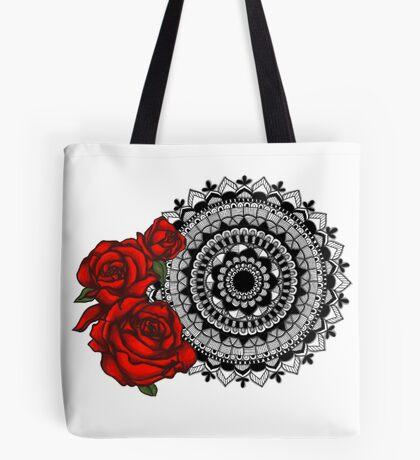 Red rose mandala Tote Bag
