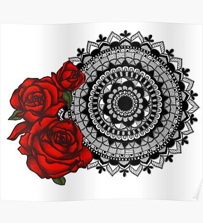 Red rose mandala Poster