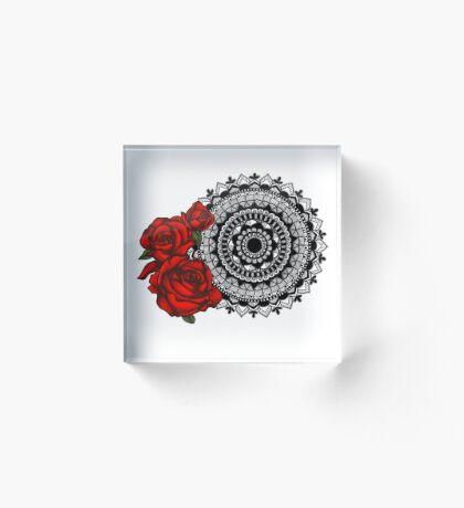 Red rose mandala Acrylic Block