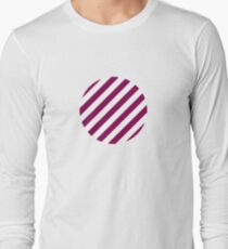 sloping stripes, medium purple and white Long Sleeve T-Shirt