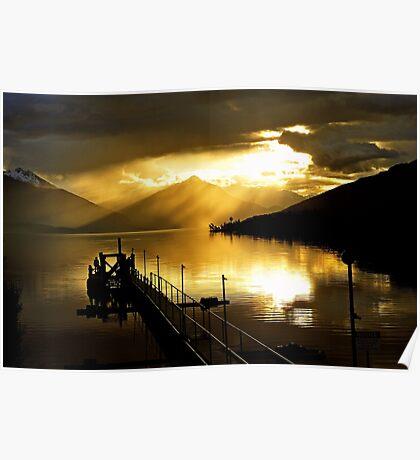 Lake Te Anau at sunset. South Island, New Zealand. (5) Poster