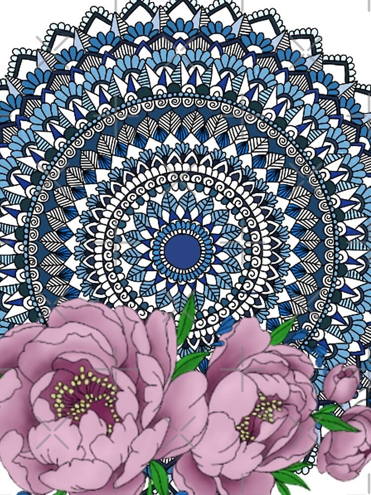 Blue peony mandala by paviash