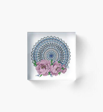 Blue peony mandala Acrylic Block