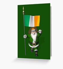 Santa Claus With Flag Of Ireland Greeting Card