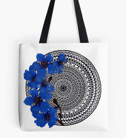 blue magnolia mandala Tote Bag