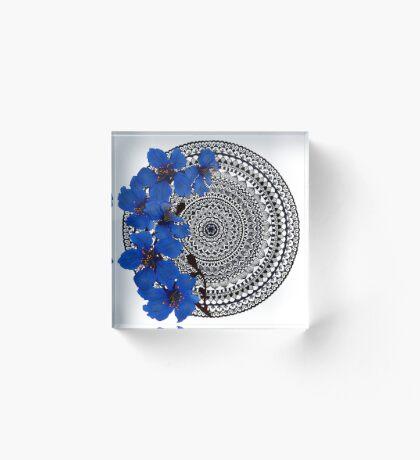 blue magnolia mandala Acrylic Block