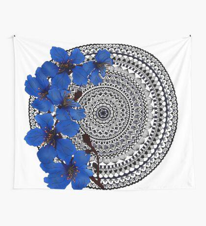 blue magnolia mandala Wall Tapestry