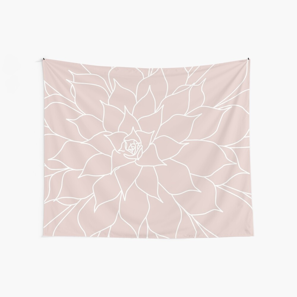 Blush Pink Succulent Wall Tapestry
