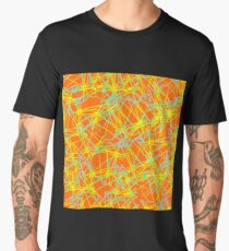 Doodle decorative seamless pattern, turquoise yellow gradient on an orange background. Bright hand drawing psychedelic vector background. Men's Premium T-Shirt