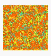 Doodle decorative seamless pattern, turquoise yellow gradient on an orange background. Bright hand drawing psychedelic vector background. Photographic Print