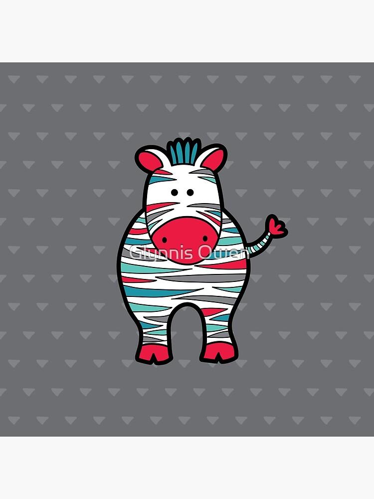 Doodle Zebra Red, Green & Grey by goggo101