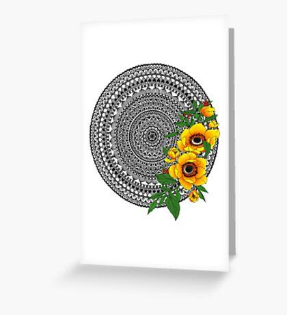 Golden poppy mandala Greeting Card