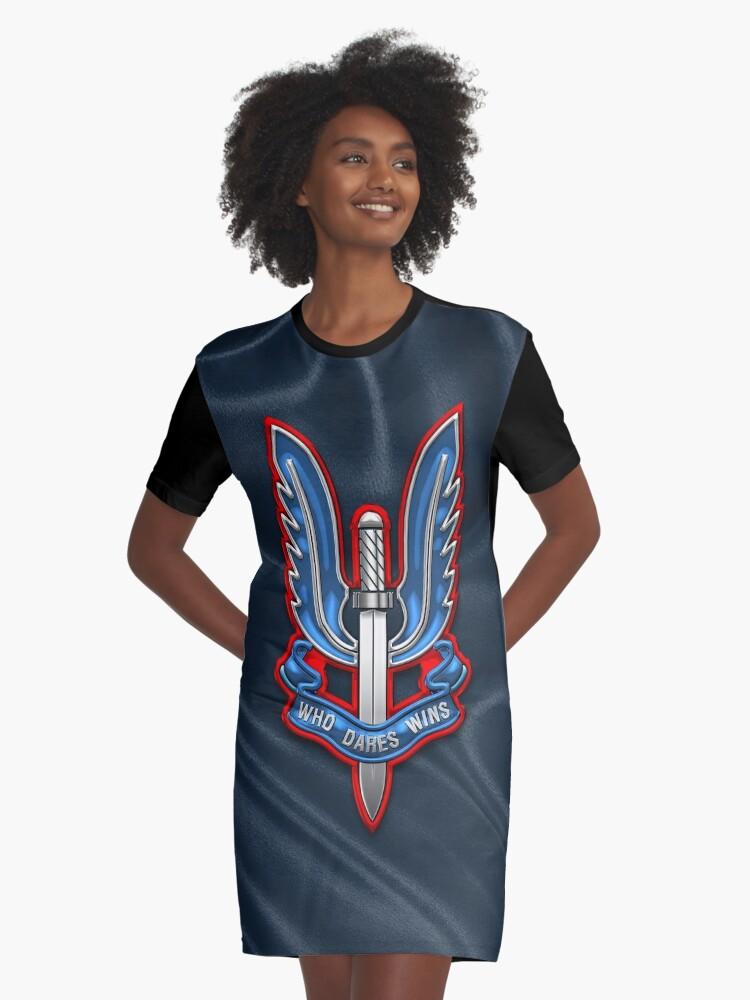 d0a69dc8 Special Air Service - SAS Insignia over Unit Flag Graphic T-Shirt Dress.  Designed by Serge Averbukh