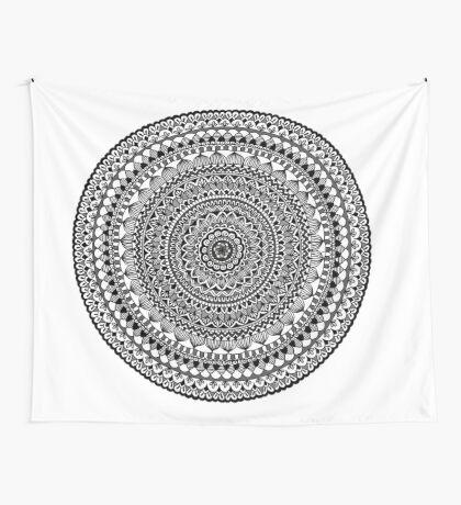 Black Moon Mandala Wall Tapestry