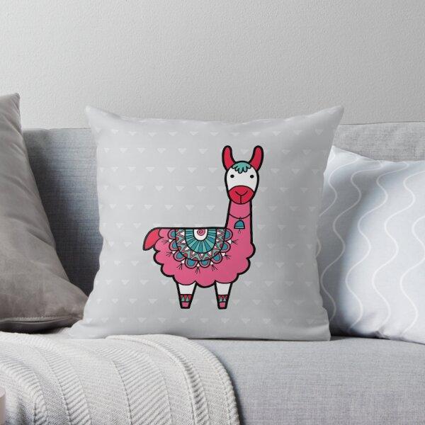 Doodle Llama Pink Throw Pillow