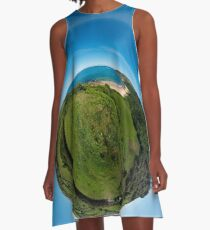 Kinnagoe Bay (as a floating green planet) A-Line Dress