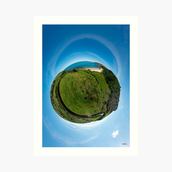 Kinnagoe Bay (as a floating green planet) Art Print