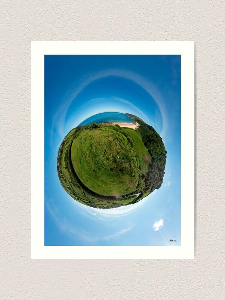 Alternate view of Kinnagoe Bay (as a floating green planet) Art Print