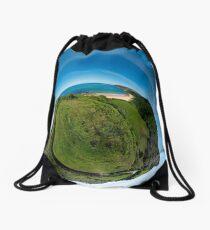 Kinnagoe Bay (as a floating green planet) Drawstring Bag