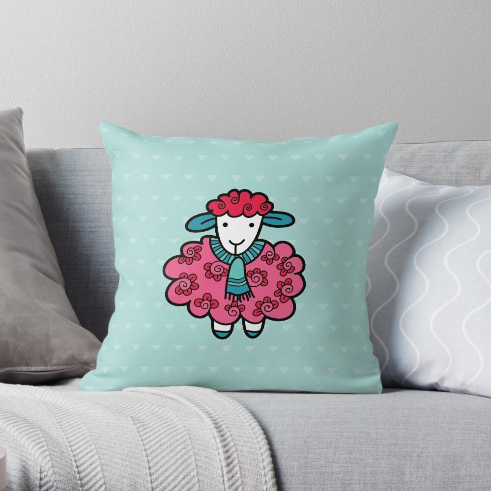 Doodle Sheep Pink Throw Pillow