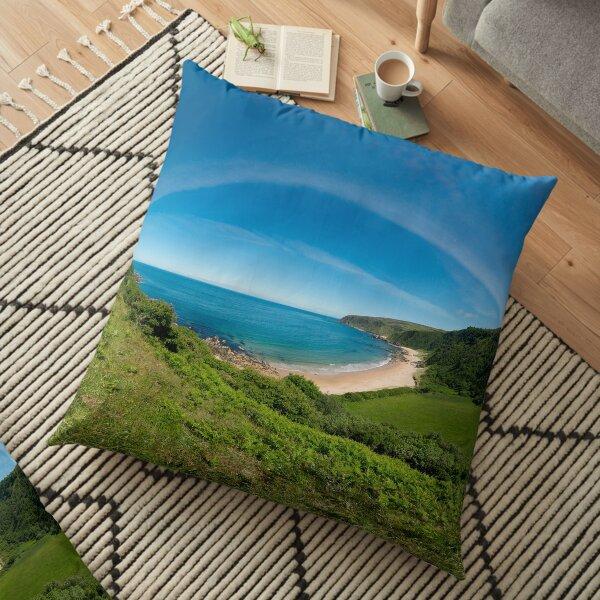 Kinnagoe Bay Panorama Floor Pillow