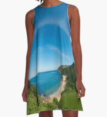 Kinnagoe Bay Panorama A-Line Dress