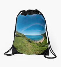Kinnagoe Bay Panorama Drawstring Bag