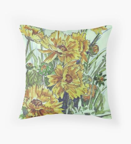 Bright and cheery Coreopsis Throw Pillow