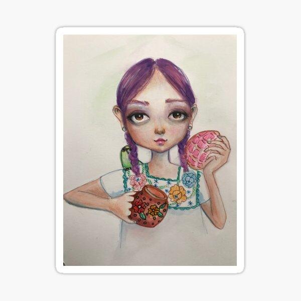 Concha and chocolate [latina art [mexican art Sticker
