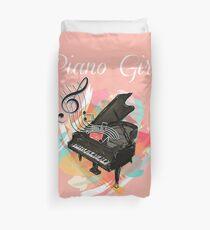 Piano Girl Music Duvet Cover