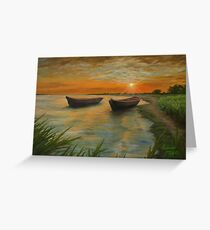 Boats on a Lake- Copy of Oil Painting on Canvas Greeting Card