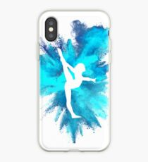 Gymnast Silhouette - Blue Explosion  iPhone Case