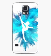 Gymnast Silhouette - Blue Explosion  Case/Skin for Samsung Galaxy