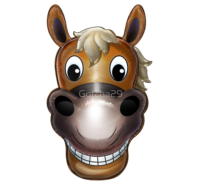 Quot Happy Horse Face Cartoon Character Quot By Gotcha29 Redbubble