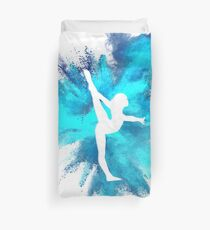 Gymnast Silhouette - Blue Explosion  Duvet Cover