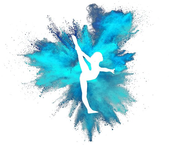 gymnast silhouette blue explosion posters by flexiblepeople