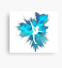 Gymnast Silhouette - Blue Explosion  Canvas Print